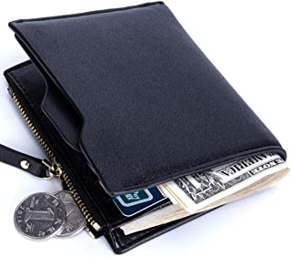 SRY Mens Wallets Leather Card Package Simple Short Wallet No Logo (Color : Black, Size : S)