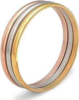 Besteel Jewelry - Set di 3 braccialetti da donna in acciaio INOX, 6,5 cm