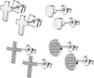 Stainless Steel CZ Bar Stud Earrings for Men Women