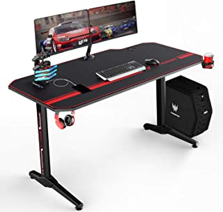 VIT 55 Inch Ergonomic Gaming Desk, T-Shaped Office PC Computer Desk with Full Desk Mouse Pad, Gamer Tables Pro with USB Gaming Handle Rack, Stand Cup Holder&Headphone Hook (55 in BLK)