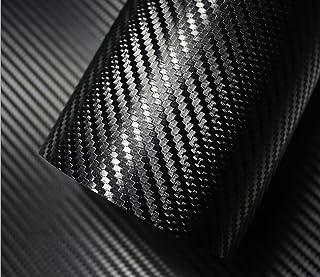 IlMondoMall 3D カーボンシート リアル カーボン調 カーボンステッカー 汎用 エア抜き溝有 (152×035, 黒)