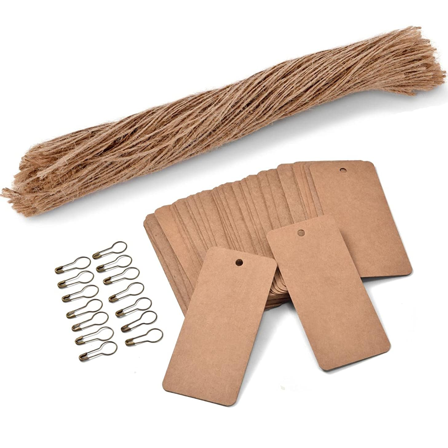 200 PCS Price Tags with Pre Cut Jute String and Safety Pins,LOOMY Printable Blank Brown Paper Tags for Sales Retail and Display