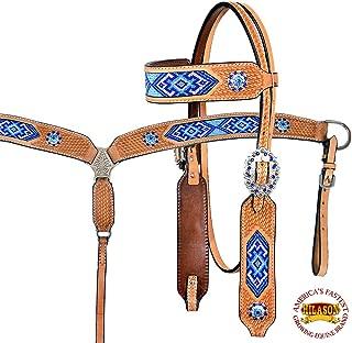 HILASON Western Horse Headstall Breast Collar Set Tack American Leather Tan