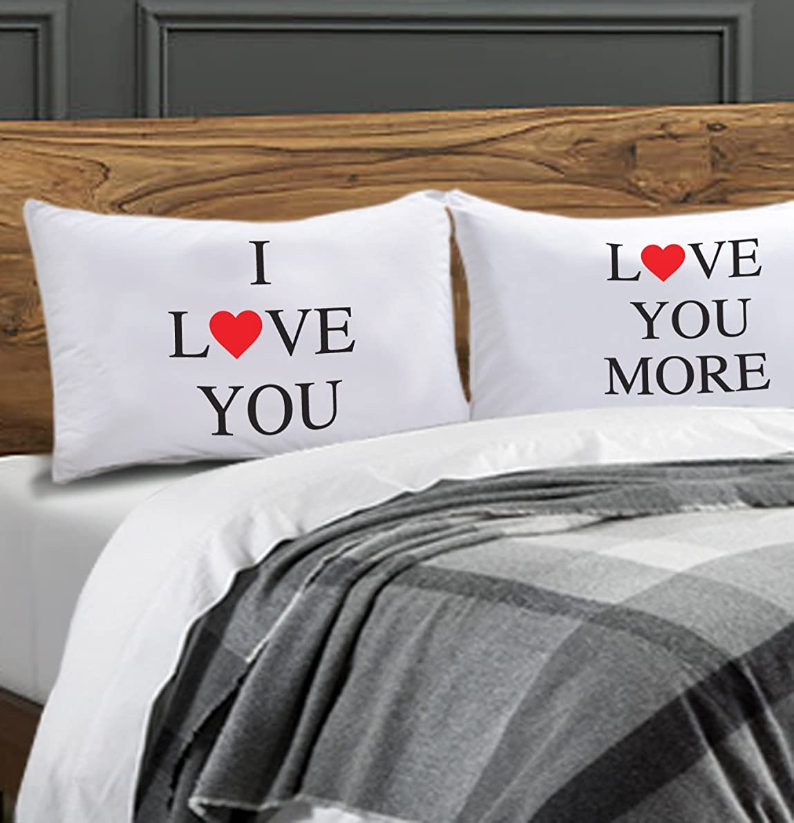 I LOVE YOU Pillow Case Set Valentines Day Gift - Includes (2) 20
