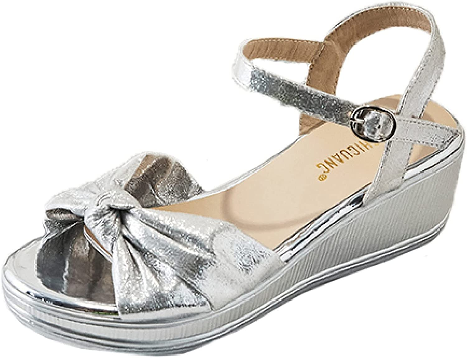 Wedges Trust Sandals Safety and trust for Women's Platform Leather Heel Sparkle Open To