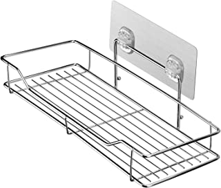HOMEIDEAS Adhesive Bathroom Shelf Shower Basket Shelf Kitchen Organizer Rack, Wall Mounted, No Drilling, SUS304 Stainless Steel