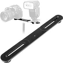 ChromLives 1/4'' Dual Camera Mount Flash Bracket Extension Bar 10.6'' Straight Flash Bracket Tripod Mount Bracket for DSLR Camera LED Light Flash Light Microphone and More