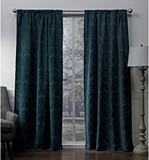 Exclusive Home Curtains Damask Chenille Jacquard Medallion Blackout Rod Pocket Curtain Panel Pair, 108