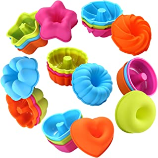 To encounter 24Pcs Silicone Molds Muffin Baking Cups Silicone Donut Baking Pan Set Nonstick Donut Mold-Heart, Stars, Flowe...