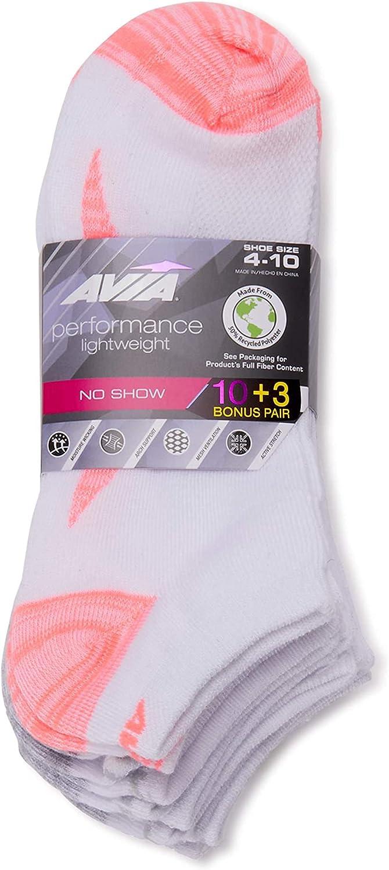 Avia Women's Performance Lightweight NO SHOW Socks (White/Pink, Sock Size 9-11; Shoe Size 4-10)