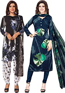 S Salwar Studio Women's Pack of 2 Synthetic Printed Unstitched Dress Material Combo-MONSOON-2870-2891