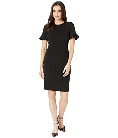Calvin Klein Flutter Sleeve Sheath Dress CD8C13YM (Black) Women