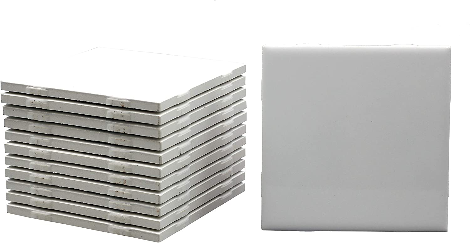 12 Pack of Glossy White Glazed Ranking TOP15 Tiles for Ink Ceramic Alcohol Pai Portland Mall