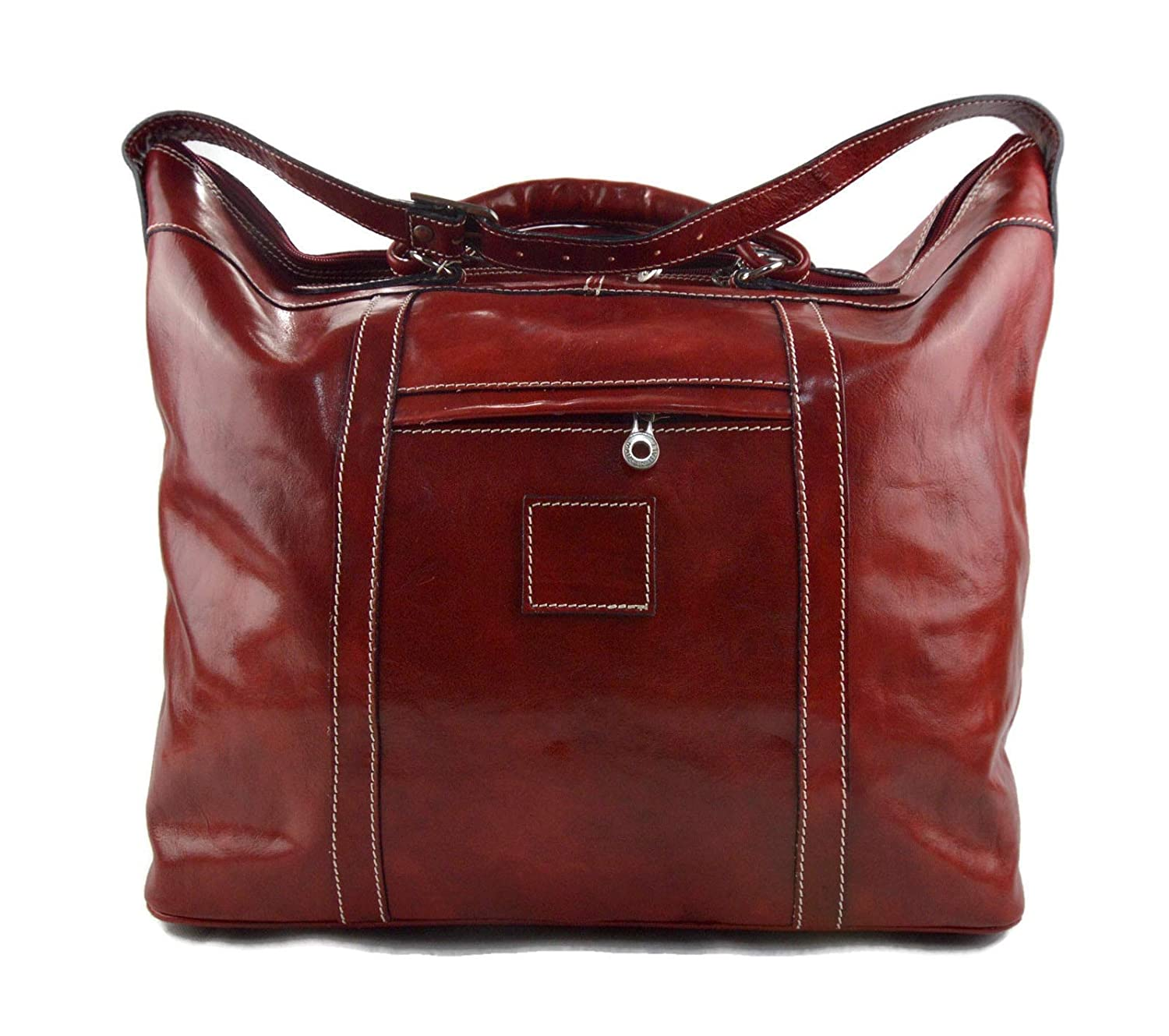 Leather duffle bag red leather genuine shoulder New Inventory cleanup selling sale life XXXL