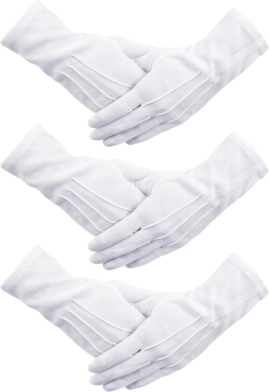 Senkary 3 Pairs White Nylon Cotton Gloves Parade Gloves Formal Costume Tuxedo Guard Jewelry Inspection Gloves