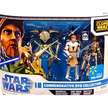 Clone Wars Commemorative 3 Pack Commander Cody General Grievous and Obi Wan by Star Wars Hasbro