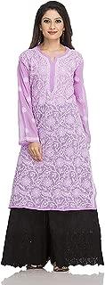 ADA Lucknow Chikankari Handcrafted Faux Georgette Kurti Kurtas Regular Wear (A95487_Mauve)