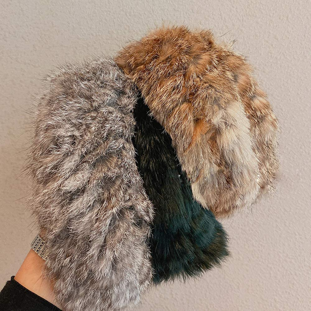 YERZ Fluffy Plush Headbands, Warm Headbands, Classy Fashion Russia Rabbit Fur Earflap Earmuff Snow Soviet Fur Headbands(White)