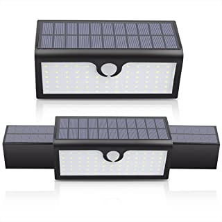 Ecohut 71 LED Stretch Out and Draw Back Panel Outdoor Solar Light Wall Light Flood Light Fast Charging Water Proof 3 Modes Wireless PIR Motion Sensor Light for Garden Path Patio Garage Yard