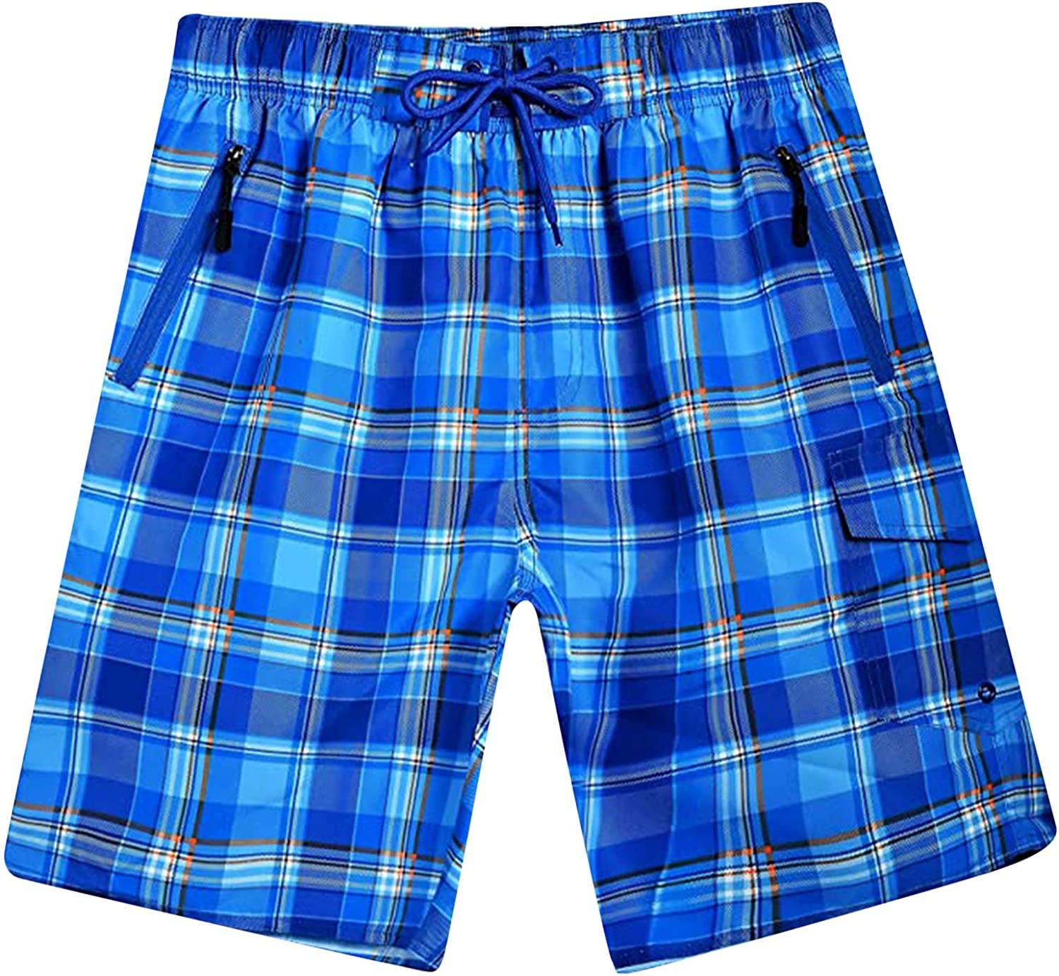Mens Summer Swimming Trunks Stylish Plaid Printed Pattern Casual Hawaiian Shorts Relaxed Fit Lounge Beach Shorts