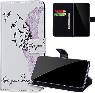 PU-läder plånbok telefonfodral kompatibelt med Xiaomi Redmi Note 6 Pro, JAWSEU sött mönster främre och bakre stativskydd m...