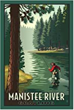 "Manistee River Grayling Giclee Art Print Poster from Original Travel Artwork by Artist Paul Leighton 12"" x 18"""