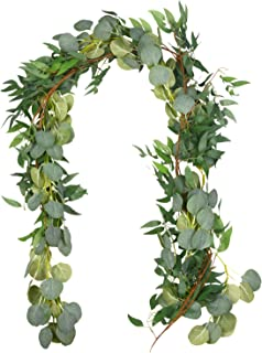 Outgeek 6.5' Long Artificial Eucalyptus and Willow Leaves Hanging Greenery Garland Artificial Vine Wedding Decorations Indoor Outdoor