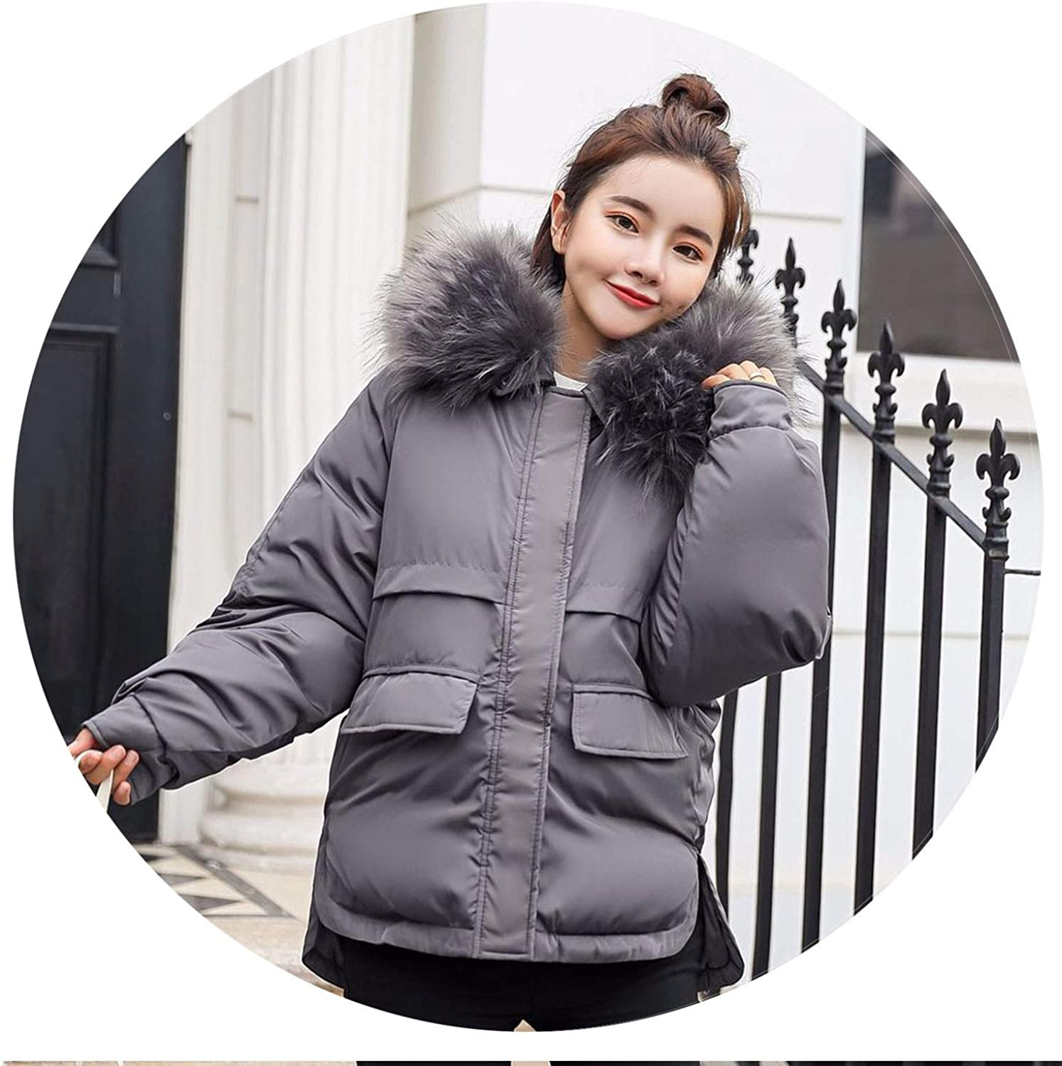 I'll NEVER BE HER Winter Female ETS Short Design Cute Cotton Down Coats Causual Warm Hoodies Loose et