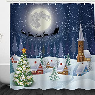 Christmas Shower Curtain Snowman Christmas Bathroom Acessories by Messagee, Santa Reindeer Christmas Eve in Small Town with on Starry Night Winter Scene, Polyester Fabric Set with Hooks, Blue