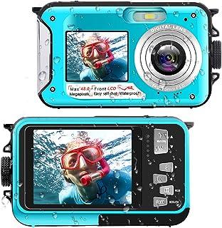 Waterproof Digital Camera Underwater Camera Full HD 2.7K 48 MP Video Recorder Selfie Dual Screens 16X Digital Zoom Flashlight Waterproof Camera for Snorkeling