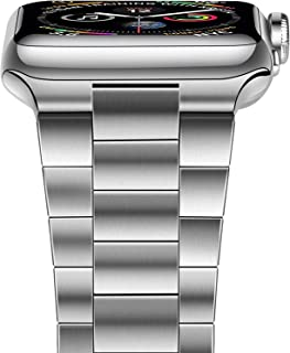 iiteeology Compatible with Apple Watch Band 42mm 44mm, Upgraded Version Solid Stainless Steel Band Business Replacement iWatch Strap for Apple Watch Series 6/5/4/3/2/1/SE - Silver