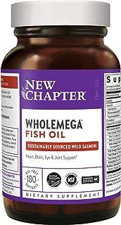 New Chapter (ニューチャプター) ホールメガ フィッシュオイルサプリメント 100%天然アラスカ産サーモンオイル オメガ-3 + ビタミンD3 + アスタキサンチン - ソフトジェル180粒 1000mg (パッケージ変更の場合あり...