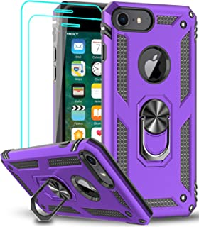 LeYi iPhone 8 Case, iPhone 7 Case, iPhone 6s/ 6 Case with Tempered Glass Screen Protector [2Pack], Military Grade Protective Phone Case with Ring Car Mount Kickstand for iPhone 6/6s/7/8, Purple