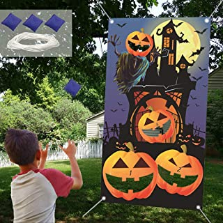 CAKKA Halloween Bean Bag Toss Game, Pumpkin Toss Game Banner with 3 Bean Bags, Halloween Party Favor Indoor Outdoor Throwing Game for Kids Family ( 54 x 30 inches )