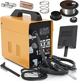 ARKSEN MIG-130 Welding Machine Gas Less Flux Core Wire DIY Home Welder Automatic Feeding, Yellow