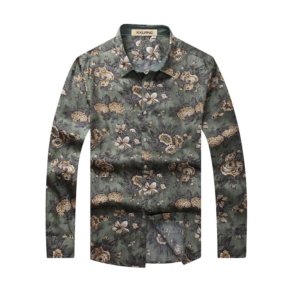 Camisas para Hombres Regular Fit Camisa de Manga Larga XL Hombre Gordo Suelta Impresión de Gran tamaño Sin Plancha Camisa más Fertilizante para Aumentar la Parte Superior: Amazon.es: Hogar