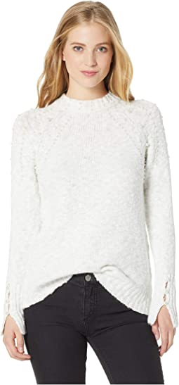 Variegated Cotton Blend Sweater w/ Pearls KSNK5872