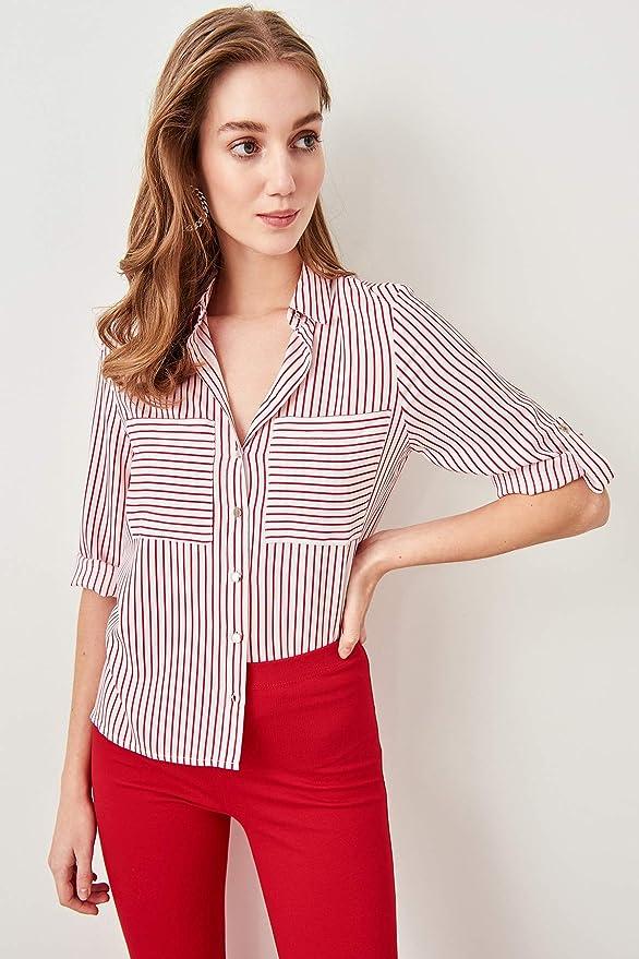 LFMDSY Camisa de Mujer Elegancia Informal Camisa a Rayas ...
