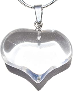"""Zenergy Gems Selenite Charged Natural Crystal Puffy Heart Pendant + 20"""" Silver-Plated Snake Chain Set + Selenite Heart Charging Crystal (Choose Your Gemstone)"""