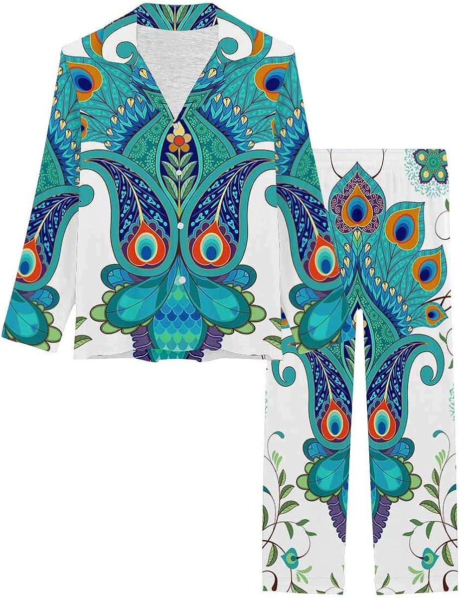InterestPrint Long Sleeve Nightwear Button Down Loungewear for Women Background with Oriental Pattern