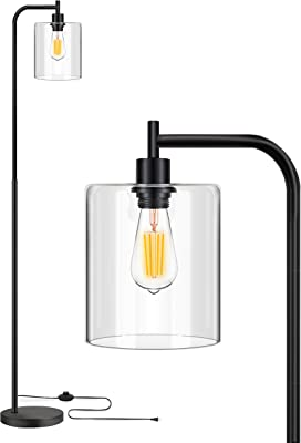 Industrial Floor Lamp, Modern LED Standing Lamp with Clear Glass Shade, Minimalist Classic Arc Standing Reading Light for Mid Century, Farmhouse, Bedroom, Living Room, Study Room, Office (Black)