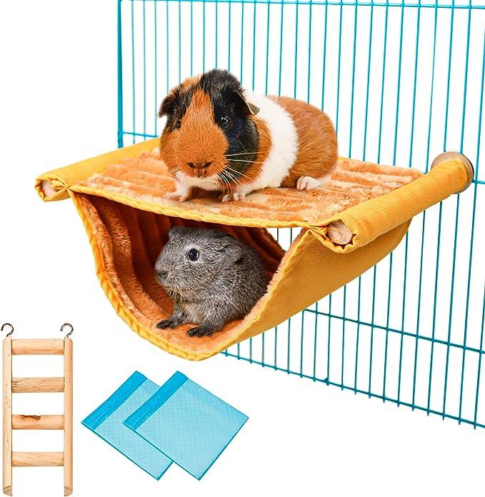 Hamster Hangematte Doppelstockbett Meerschweinchen Kafig Zubehor Mit Holz Hamsterleiter Und 2 Wickelunterlage Fur Hamster Chinchillas Papageien Zucker Rennmaus Eichhornchen Finch Gelb Amazon De Haustier