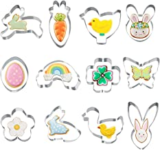 Listenman Set of 12 Easter Cookie Cutter Sets, Cookie Cutters Easter Shapes Include Rabbit, Chick, Egg, Flower, Carrot, Bu...