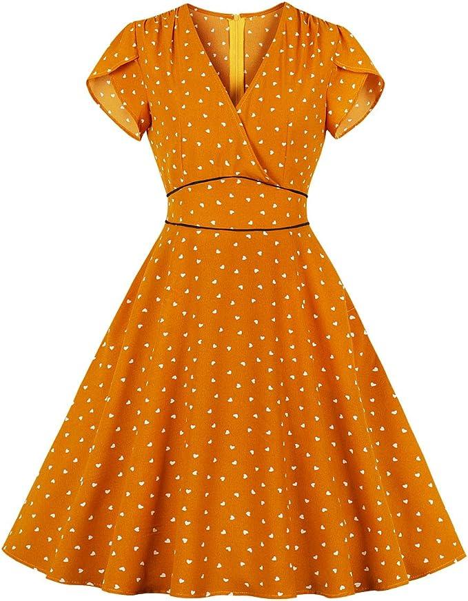 Wellwits Damen Polka Dots Herzen V Ausschnitt Wickelkleid Vintage Kleid Mit Tasche Amazon De Bekleidung