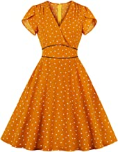 Wellwits Women's Polka Dots Hearts V Neck Wrap Vintage Dress with Pocket