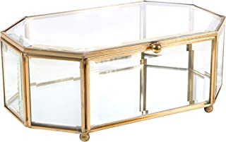 Home Details Vintage Mirrored Bottom Glass Keepsake Box Jewelry Organizer, Decorative Accent, Vanity, Wedding Bridal Party Gift, Candy Table Décor Jars & Boxes, Octagonal, Gold