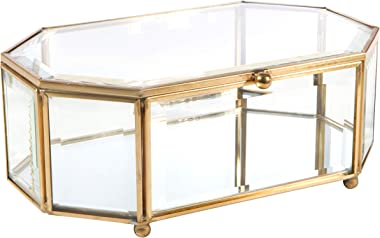 Home Details Vintage Mirrored Bottom Glass Keepsake Box Jewelry Organizer, Decorative Accent, Vanity, Wedding Bridal Party Gi