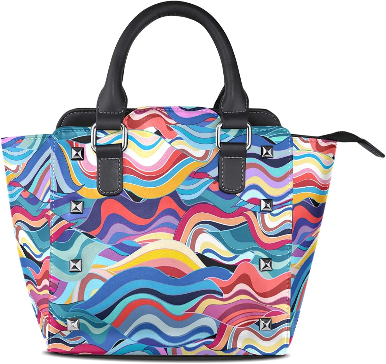 My Little Nest Women's Top Handle Satchel Handbag Fantastic Geometric Ladies PU Leather Shoulder Bag Crossbody Bag