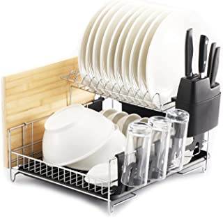 PremiumRacks Professional Dish Rack - 304 Stainless Steel - Fully Customizable - Microfiber Mat Included - Modern Design -...