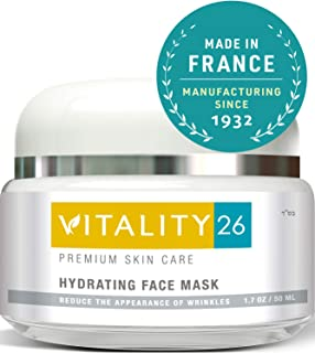 Vitality26 Hydrating Face Mask - Brightening Face Mask for Wrinkles & Fine Lines with Clay, Marine Collagen, Elastin & Avocado Oil & More - Effective Rosacea Treatment For Face